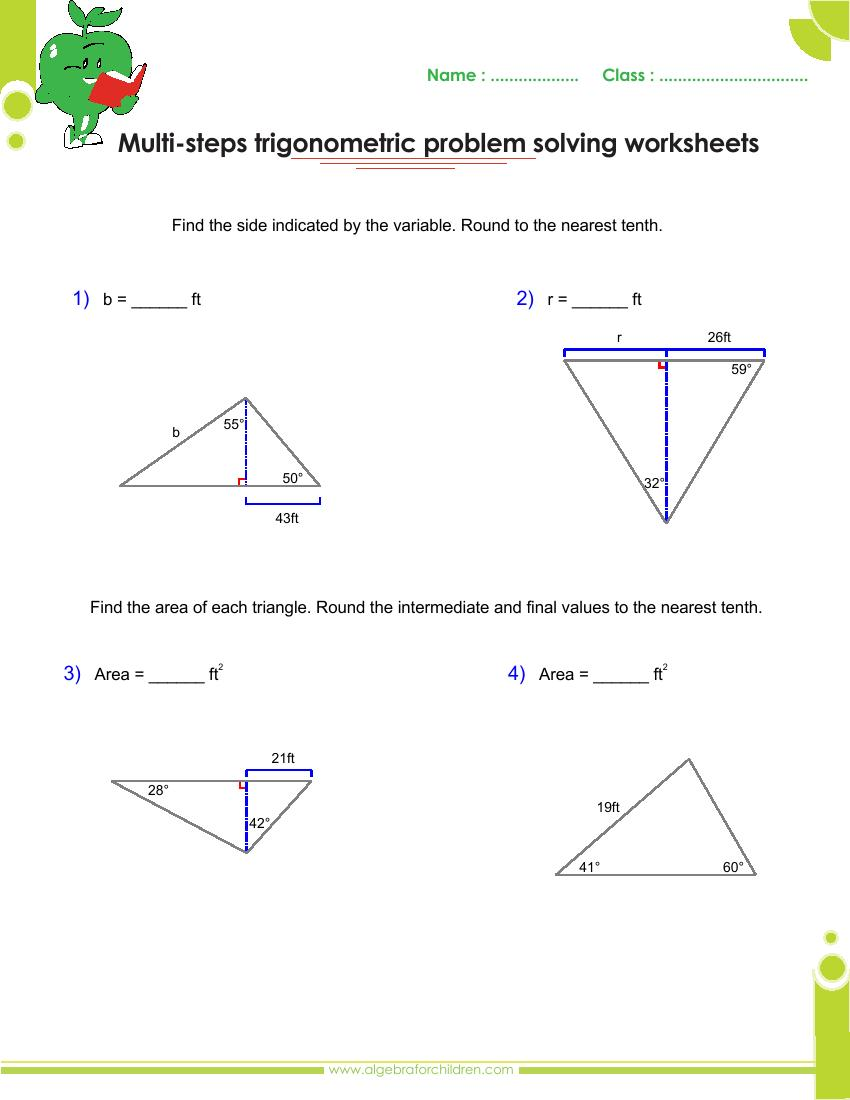 Worksheets Trigonometry Worksheets With Answers basics trigonometry problems and answers pdf for grade 10 multi step worksheets with searches related to with