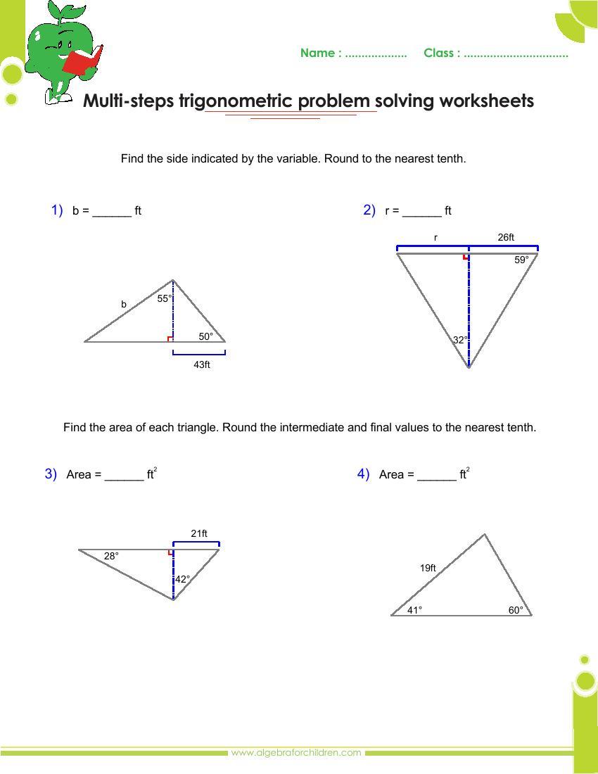 Workbooks inverse trigonometric functions problems worksheets : Basics trigonometry problems and answers pdf for grade 10