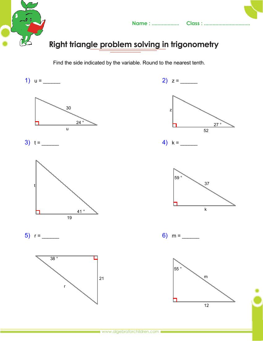 Basics trigonometry problems and answers pdf for grade 10 – Right Triangle Trigonometry Word Problems Worksheet