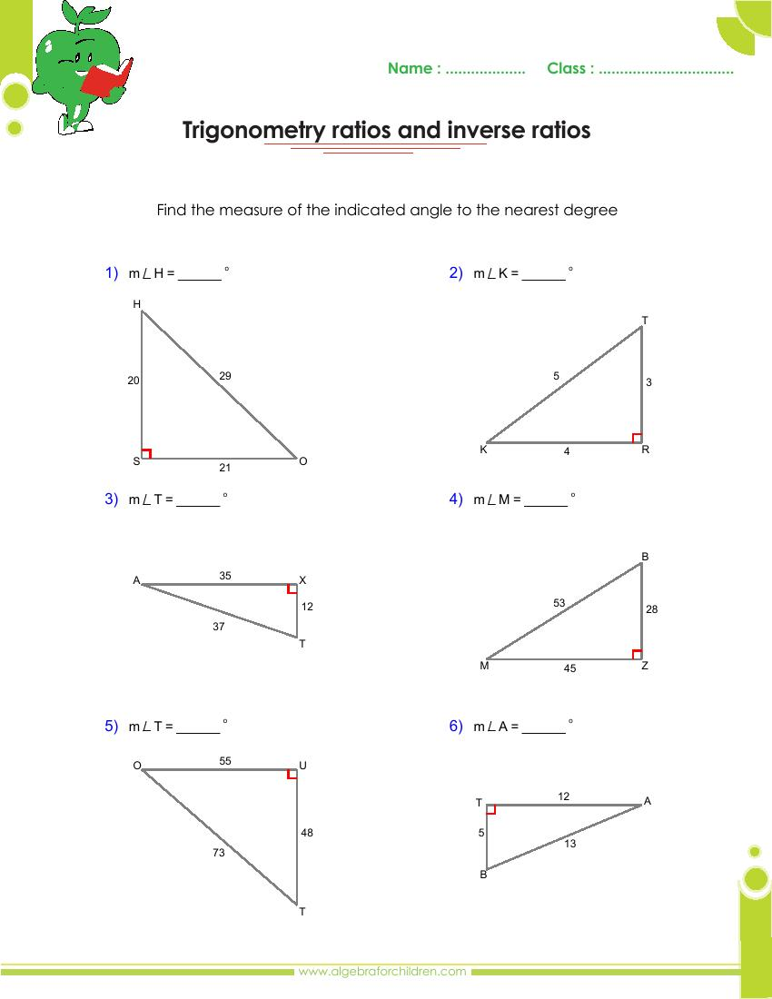 Basics trigonometry problems and answers pdf for grade 23 With Regard To Right Triangle Trig Worksheet