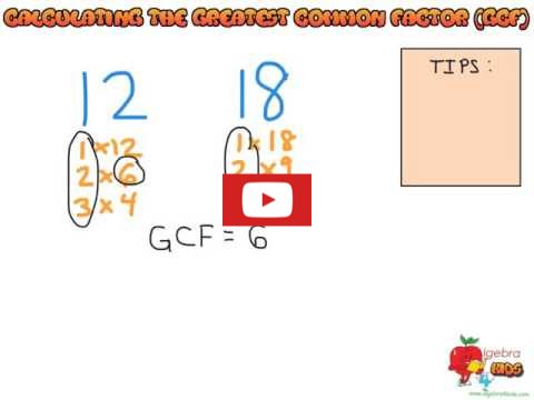 Finding the greatest commong factor of two numbers youtube video tutorial, calculating the GCF video tutorial, simplifying a fraction to the lowest term with the GCF method