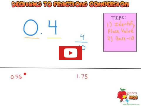 Learn how to convert decimals to fractions, converting decimals to fractions and fractions to decimals video tutorial