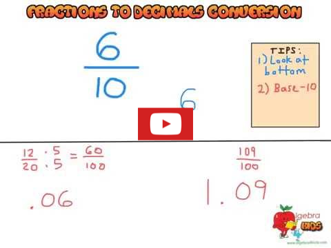Learn how to convert fractions to decimals, fractions to decimals video tutorial
